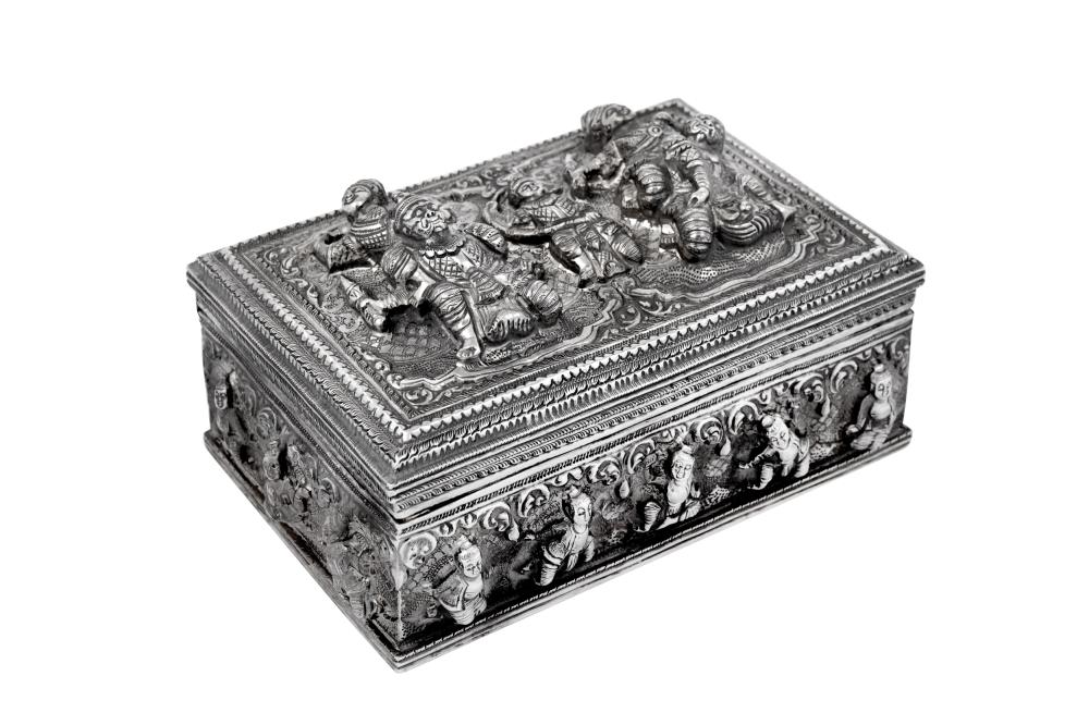A mid-20th century Burmese unmarked silver casket or box, probably Lower Burma circa 1950