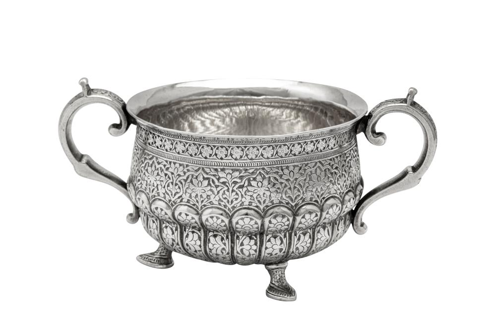 A late 19th century Anglo – Indian unmarked silver twin handled sugar bowl, Kashmir circa 1880