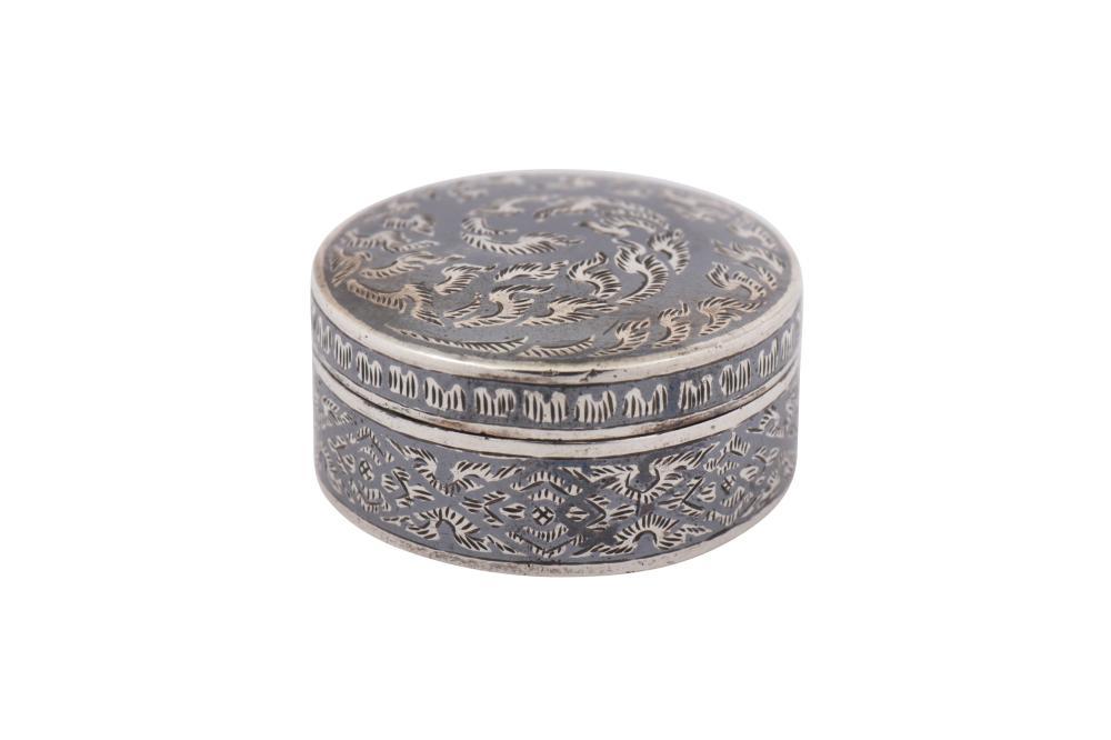 An early 20th century Siamese (Thai) silver and niello pill box, probably Bangkok circa 1930