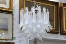 A LA MURINA MURANO CHANDELIER, with clear and opaque white glass drops (50cm diameter).