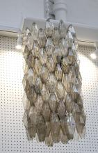 A LARGE 1960s POLIEDRI CHANDELIER DESIGNED BY PAOLO VENINI, with smoked glass drops, (45cm diameter x 85cm high)