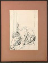 FELIKS TOPOLSKI RA (POLISH 1907-1989), 'THE SKIVVY', CIRCA 1960, pen and ink on paper, inscribed verso; 'Frontispiece Felix Topolski 'The Skivvy' circa 1960', (Paper; 35.5 x 25cm). PROVENANCE: By repute. Gifted to an employee of IPC magazine, circa 1980. Topolski was contracted to work for the magazine at this time. ARTIST'S RESALE RIGHTS MAY APPLY.
