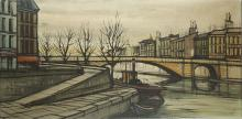 RODERICK LAING (BRITISH), after Bernard Buffet, Paris - Seine 1960's, oil on canvas (canvas: 50cm x 102cm). Provenance: Acquired directly from the artist, first set / production designer for Dr Who.ARTIST'S RESALE RIGHTS MAY APPLY.