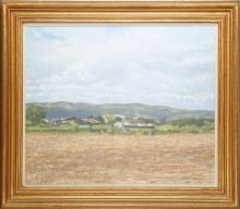 CHRISTOPHER SANDERS R.A. (BRITISH 1905-1991), 'LOOKING TOWARDS THE ARDECHE', circa 1970, oil on canvas, signed (51cm x 61cm).ARTIST'S RESALE RIGHTS MAY APPLY.