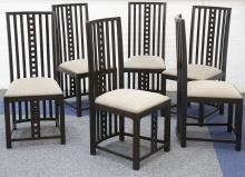 A SET OF SIX 'HILL HOUSE' CHAIRS, designed by Charles Renie Mackintosh, in dark stained oak, late 20th century, probably manufactured by Cassina.