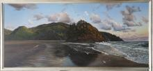 BROOKS ANDERSON (AMERICAN b.1951), untitled, 1996, seascape, large oil on board, signed dated (100cm x 211cm incl. frame).