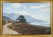 WILLIAM M. SULLIVAN (AMERICAN b.1950), 'Pacific Pine', 1990, landscape, oil on canvas, signed, Sherry French, New York, gallery label attached to verso (canvas: 50.5 x 76cm).