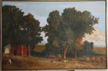 A LARGE LATE 20TH CENTURY OIL ON BOARD, farm landscape view with cows, indistinctly signed Gordon (183cm x 122cm).