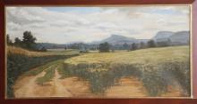 A LARGE LATE 20TH CENTURY OIL ON CANVAS, landscape, signed M. Harvey (canvas: 183cm x 91cm).