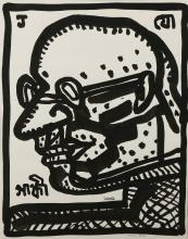 JOGEN CHOWDHURY (INDIAN, b.1939), 'GANDHI', 2001, brush and black ink, signed and dated, (35 x 28cm)