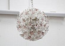 MURANO ITALY - A VENINI ESPERIT CHANDELIER, with rare colourway clear and purple hand blown crystal appliques, large globe form, (70cm diameter).