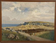 NORMAN WILKINSON RBA (BRITISH 1878-1971), untitled, oil on canvas, coastal scen with figure and donkey, signed, (canvas; 45 x 61cm)