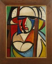 A 1950s CUBIST OIL ON BOARD, indistinctly signed Scheibet H. (45cm x 34cm ).