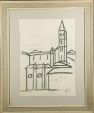 A MID 20TH CENTURY ITALIAN SCHOOL, charcoal on paper, study of a cathedral, indistinctly signed (frame: 73cm x 60cm).