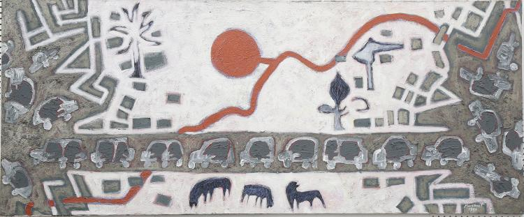 MIGUEL MANSANET (MOROCCAN b.1956), 'Between Two Cities', 1985m late 20th Century abstract mixed media on canvas, signed and dated, Salama-Caro, Cork Street Gallery label to verso (95cm x 229cm).