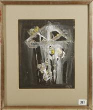 PRUNELLA CLOUGH (BRITISH 1919-1999), 'Night Garden 1' 1964, mixed media on paper, signed (frame: 44cm x 37cm).