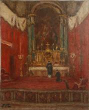 GEROGE D'ESPAGNAT (FRENCH 1870-1950), 'MESSE ST. SULPICE', oil on canvas, signed with initials 'GdE' lower left, and stamped with intials to verso, (61 x 50cm)