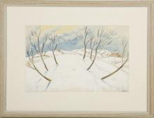 JONATAH ARMIGEL WADE (BRITISH, b.1960), untitled, winter landscape, pen, ink, gouache and watercolour on paper, signed, (16.5 x 25cm)