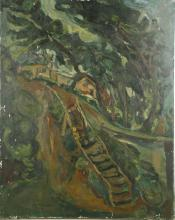 GEORGE KENNERLEY (BRITISH 1909-2009) AFTER CHAIM SOUTINE (RUSSIAN 1893-1943), 'LANDSCAPE WITH FLIGHT OF STAIRS' 1922, oil on canvas, signed to verso, (81 x 65cm). NOTES: See National gallery of Ireland, Dublin (NGI.4485). ARTIST'S RESALE RIGHTS MAY APPLY.