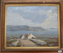PADRAIC WOODS (IRISH 1893 1991), 'The Road to the Sea - Achill', mid 20th Century, oil on canvas, signed (canvas 41cm x 51).