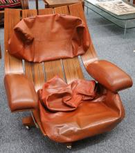A G-PLAN HOUSEMASTER CHAIR, teak and tan leather, (86cm wide)