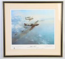 FRANK WOOTON, 'SPITFIRE MK V, Douglas Bader leading 616 Squadron for a sweep over German occupied France, signed in margin in pencil by Group Captain Sir Douglas Bader, published by Blaze Fine Art Ltd 1976. A limited edition print of 200 of 850, 32.5cm x 40.4cm.