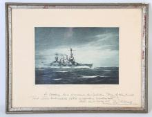 GERMAN SCHOOL, MID 20th CENTURY SMS SCHLESIG - HOLSTEIN, signed and titled in pencil in margin, also stating original proof, also inscribed in pen in border with a note of gratitude to the Governor of the Seychelles, Sir Arthur Francis Grimble, KCMG, who served a governor from 1936-1942 from the Commander of the Schleswig - Holstein, KZS Hans Feldbausch (1937-38) during a visit on the 25th of February 1938; aquatint, 17.9cm x 26.3cm.