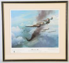 FRANK WOOTON, 'HURRICANE MK 1', Bob Stanford-Tuck leading 257 Squadron into action during the Battle of Britain, signed by the artist in pencil in the margin; also signed in pencil in margin by Wing Commander R.R. Stanford-Tuck, published by Blaze Fine Arts Ltd in 1976, 32.4cm x 40.4cm.