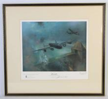 FRANK WOOTON, 'LANCASTER', attack on the Möhne Dam 16th/17th May 1943, signed in the margin in pencil by artist; also signed in pencil in margin by Barnes Wallis, published by Blaze Fine Arts Ltd in 1977, 32.4cm x 41.8cm.