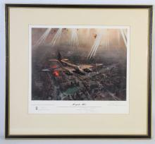 TERENCE CUNEO, MOSQUITO MK VI', Leonard Cheshire dropping markers on Gestapo Headquarters in Munich, 24th April 1944, from the original oil painting by Terence Cuneo, signed in margin in pencil by artist, also signed in margin in pencil by Group Captain Leonard Cheshire, published by Blaze Fine Arts Ltd in 1978, 32.4cm x 42.9cm.