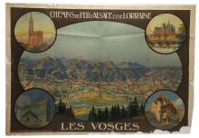 A CIRCA 1930s 'LES VOSGES', 'Chemius de Fer D'Alsace et de Lorraine' travel poster, produced by Constant - Duval, approx. 77cm x 108cm, and a collection of photographs of Monte Carlo of the theatre, a private residence.