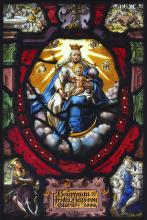 AN EARLY 17TH CENTURYSTAINED AND LEADED GLASS PANEL DEPICTING THE VIRGIN AND CHILD DATED 1606  of oval form, the Virgin enthroned and flanked by winged putti masks, the Christ Child with an orb, indistinctly inscribed below and dated 1606, later mounted in a wooden frame,  the glass 35cm, the frame 42cm high