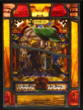 A MID 17TH CENTURY SWISS STAINED AND LEADED GLASS PANEL DEPICTING CHRIST IN THE TEMPLE  inscribed ANNO 1648,mounted in a modern black painted frame box with electric light inside to illuminate the glass,  the glass 21cm high, the frame 29cm high