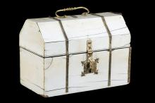 A 15TH / 16TH CENTURY ITALIAN IVORY AND GILT BRONZE MOUNTED CASKET  of sarcophagus form, surmounted by a knopped and ringed swing handle, the gilt bronze escutcheon and clasp engraved with stylised leaves and buds, the interior with stringing around the rectangular inlaid wood panels,  18cm wide x 13cm high x 10cm deep   THIS LOT IS SUBJECT TO CITES   A near identical casket was sold at Sotheby's, London, 5 April 2006, lot 119 and catalogued as '15th / 16th century or earlier'.
