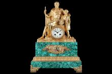 A 19TH CENTURY FRENCH EMPIRE STYLE GILT BRONZE AND MALACHITE MANTEL CLOCK  surmounted by a figural group of a Roman solider and a boy, on a naturalistic base, the later malachite plinth set with a mount depicting a military trophy, over a foliate border, the later enamelled dial with Arabic numerals, the twin train movement with outside countwheel striking on a bell,   54cm high   The movement winds and strikes when the hands are turned but not fully tested or guaranteed.