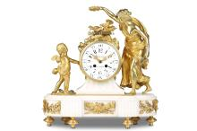 A LATE 19TH CENTURY FRENCH GILT BRONZE AND WHITE MARBLE FIGURAL MANTEL CLOCK   SIGNED CAUSARD A PARIS AND PLANCHON PARIS  the white marble plinth base with gilt bronze mounts of a flaming torch and quiver of arrows and ribbon-tied laurels, surmounted by the gilt bronze figures of Venus holding a floral wreath and Cupid holding a flaming heart, with a pair of doves seated atop the drum case enclosing the white enamelled dial with Arabic numerals, the twin train movement signed 'PLANCHON PARIS', with outside countwheel striking on a bell, with pendulum,  41cm high   The movement is winding, ticking and striking but not fully tested or guaranteed.