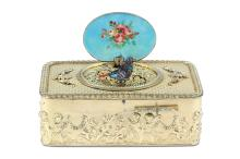 AMENDED: A FINE 19TH CENTURY SWISS GILT METAL AND ENAMEL SINGING BIRD BOX 'OISEAUX CHANTANTS'  the rectangular box decorated with a continuous frieze of frolicking putti to the sides, with an egg and dart border to the top and trellis pattern within, with a switch to activate the oval hinged lid, the lid set with an enamel depicting a shepherdess with three lambs and male figure playing the flute within an Arcadian landscape, the inside of the lid with an enamel panel depicting a bouquet of roses,opening to reveal the singing bird with gilt wings and multi-coloured feathered plumage, the bird appearing from a fine pierced grill and singing,  9cm wide x 3.5cm high