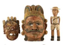 TWO ETHNOGRAPHIC MASKS AND A COLON FIGURE