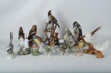 A collection of porcelain bird models by various manufacturers, including Geobel, Copenhagen etc, 15 in total.