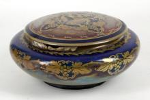 A Royal Lancastrian (Pilkington) lustre bowl and lid, vine decoration around side of bowl, .... amidst grapes to lid, sold as seen, diameter of bowl: 22cm x 11cm high.
