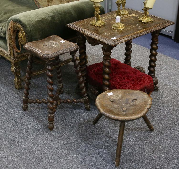 An Early 19th Century 3 Legged Milking Stool Sold With An I