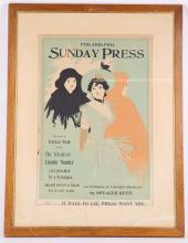 George Reiter Brill 1867-1918. An early 20th Century advertising poster for Philadelphia Sunday Press advising a Lincoln edition. Mounted, glazed and framed. 53cm high x 35cm.