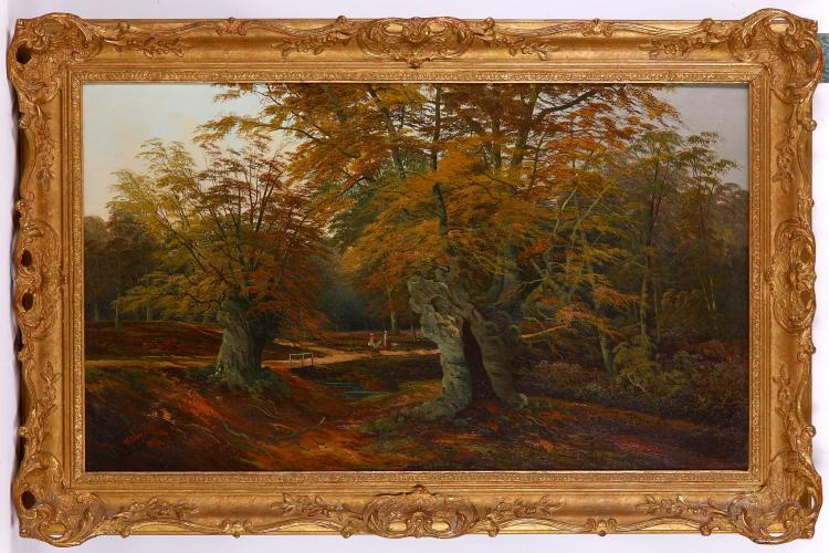 STANLEY ALLAN 1867-1947.   Signed lower left and dated 1894.   'Picnic in the Forest'.   Oil on canvas treescape with figures.   Re-lined.   In a good giltwood frame.