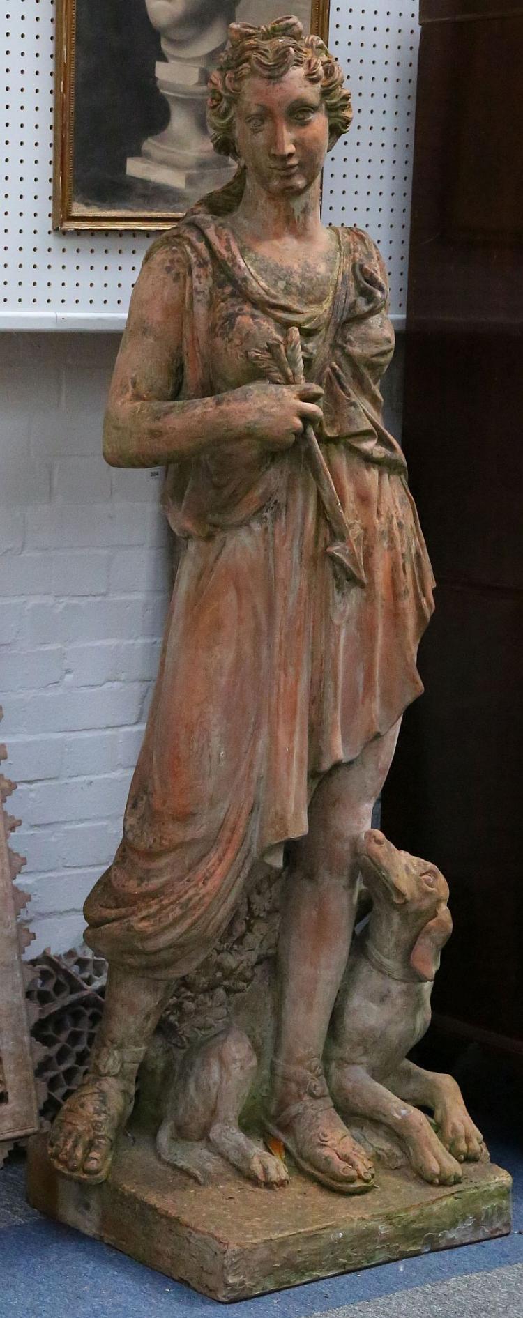 A pair of 19th Century terracotta garden statues of Artemis