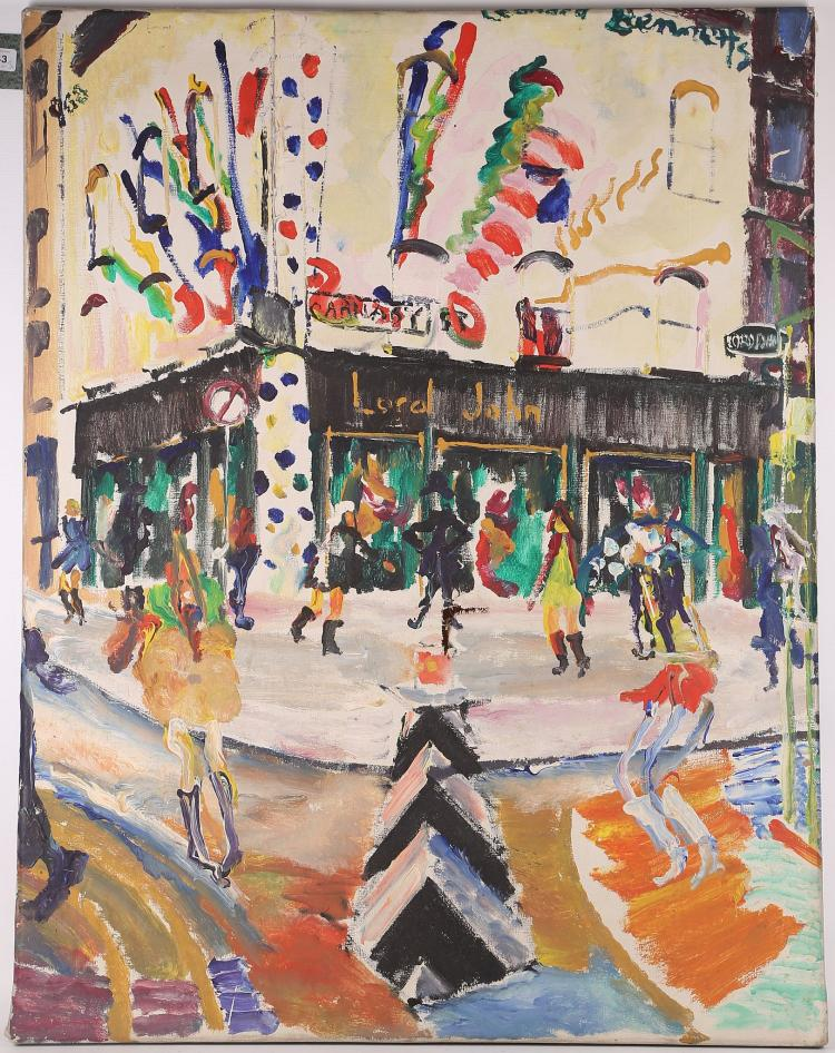 Leonard Bennetts (1933-2004). 'Carnaby Street', oil on canvas, together with a fantastical ink and watercolour, indistinctly signed, and a pair of theatre posters 'All's Well That Ends Well', and 'The Guardsman' (4).