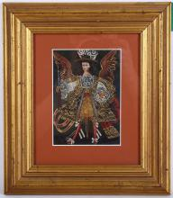 20th Century Mexican school after the antique. A finely dressed figure in gold brocade tunic with wings on a black background. 15 x 11cm.