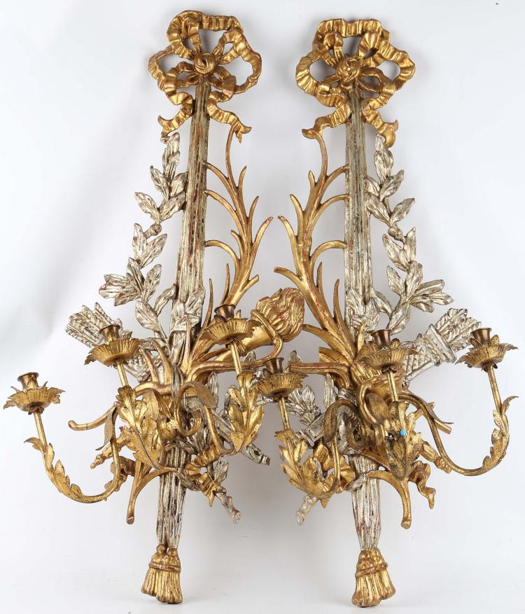 Long Wooden Wall Sconces : A highly ornate gilded wood, three branch French Empire styl