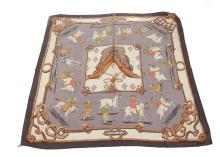 Hermes 'Equitation Japonaise' silk scarf, designed in 1969 by Françoise de la Perriere, on lavender ground, 90cm x 90cm