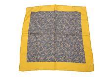 Hermes silk square, rosettes design on mustard yellow ground, 42cm x 42cm