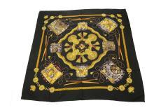 Hermes 'Les Tambours' silk scarf, designed by Joachim Metz in 1989, on black ground, 90cm x 90cm